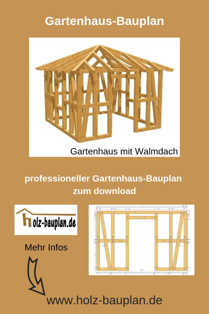Gartenhaus mit WalmdachBauplan proffessionelle