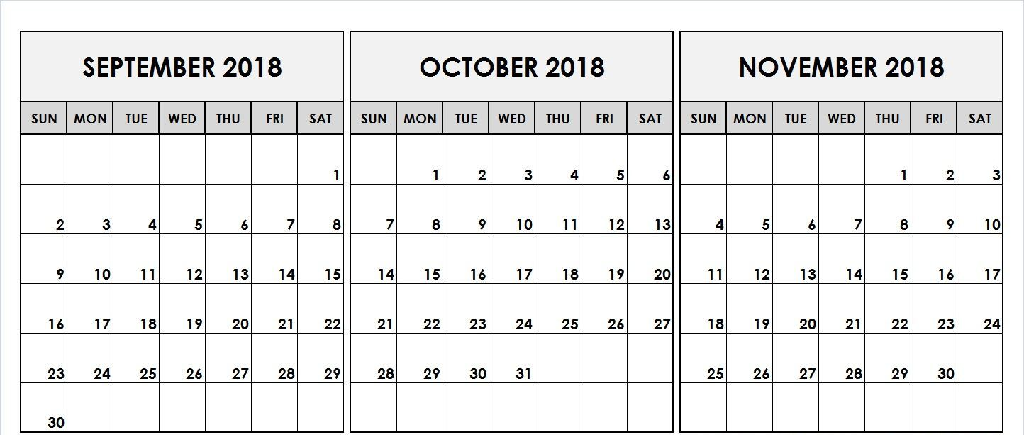 september october november calendar 2018