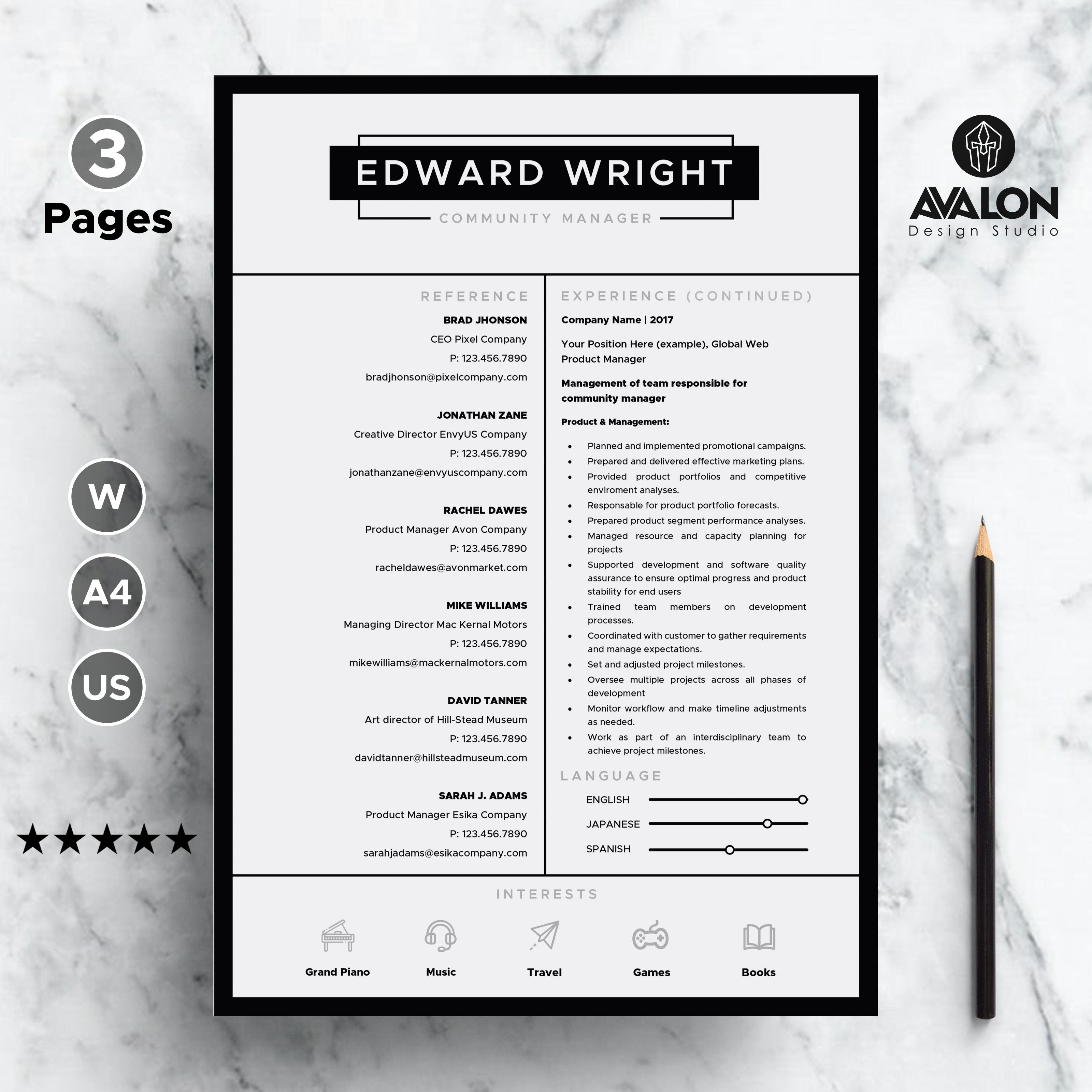 professional resume template for ms word, 3 pages, modern world bank cv format pdf itil incident management chemical engineering skills