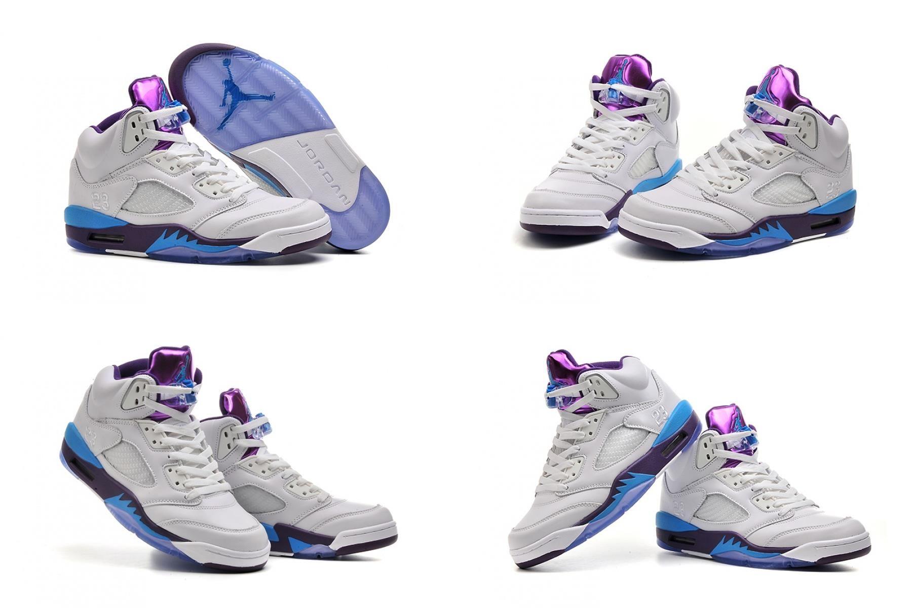 Air Jordan 5 White Blue Purple For