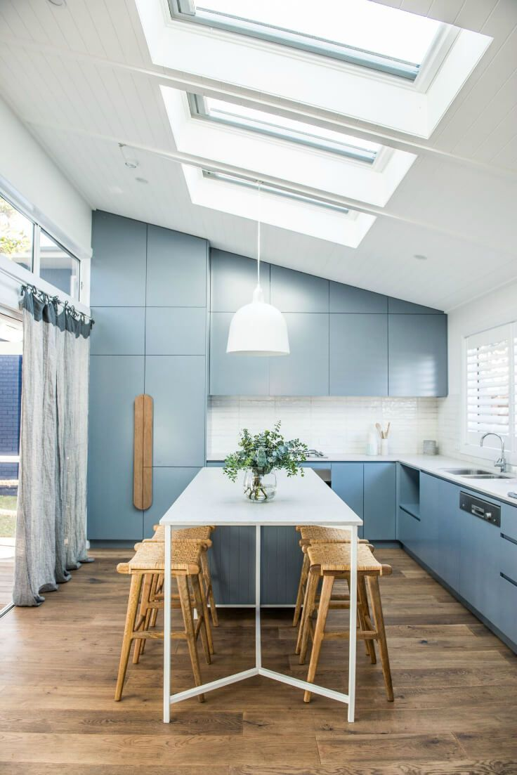 kyal and kara renovation blue kitchen with light wooden floorboards ...