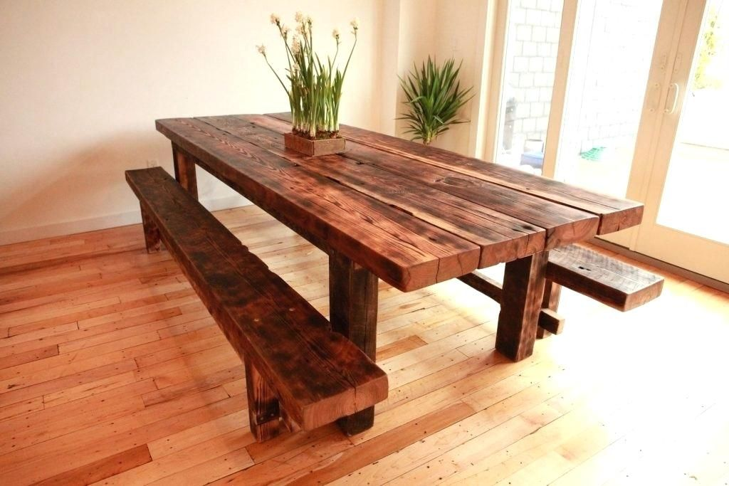 Learn The Best Ways To Construct A Table For Your Kitchen Or Dining Room The Strategies Use Rough Building Lumber To Earn This Cost Meja Kayu Meja Makan Rumah