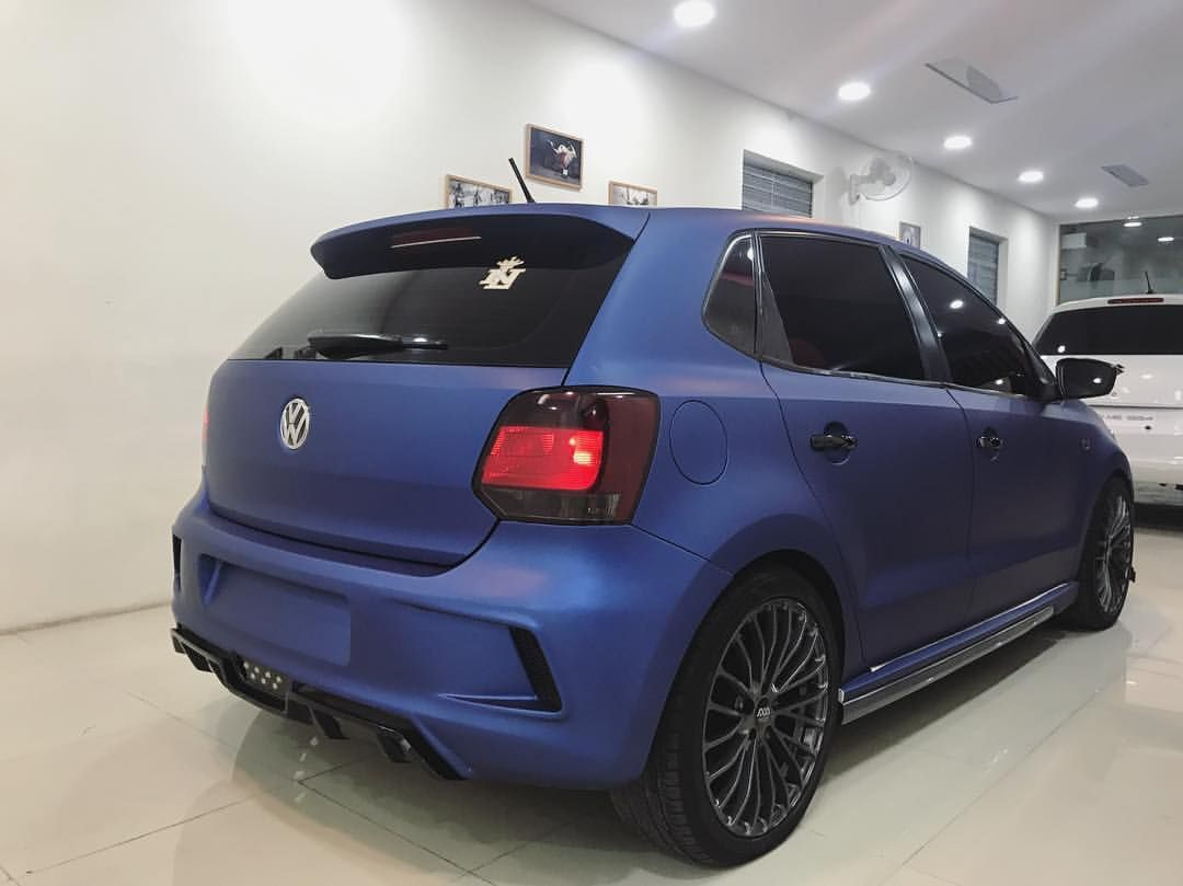 Vw Polo With Sports Body Kit And Matte Blue Wrap In