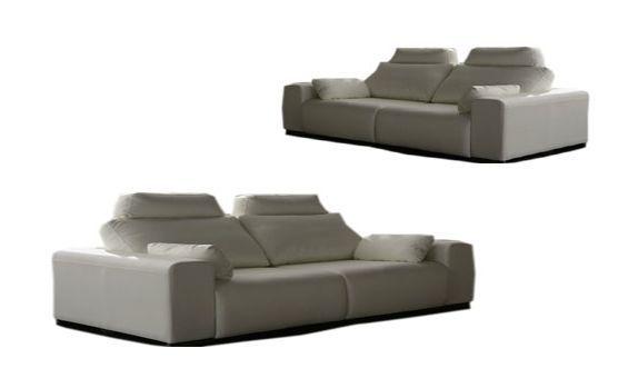 Conjunto sofás dos más tres plazas en piel textil con asientos deslizantes