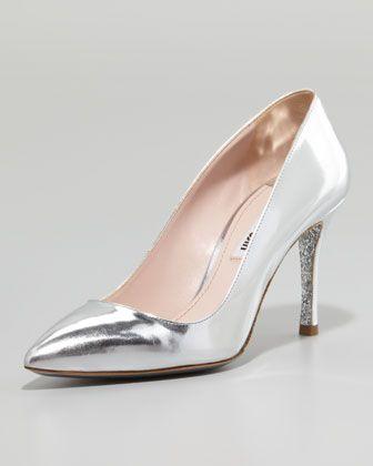 www.miumiu.com, Miu Miu, Specchio Pointed Pump, Silver - Neiman Marcus, bride, bridal, wedding shoes, bridal shoes, wedding, bride shoes, silver shoes, haute couture, designer shoes