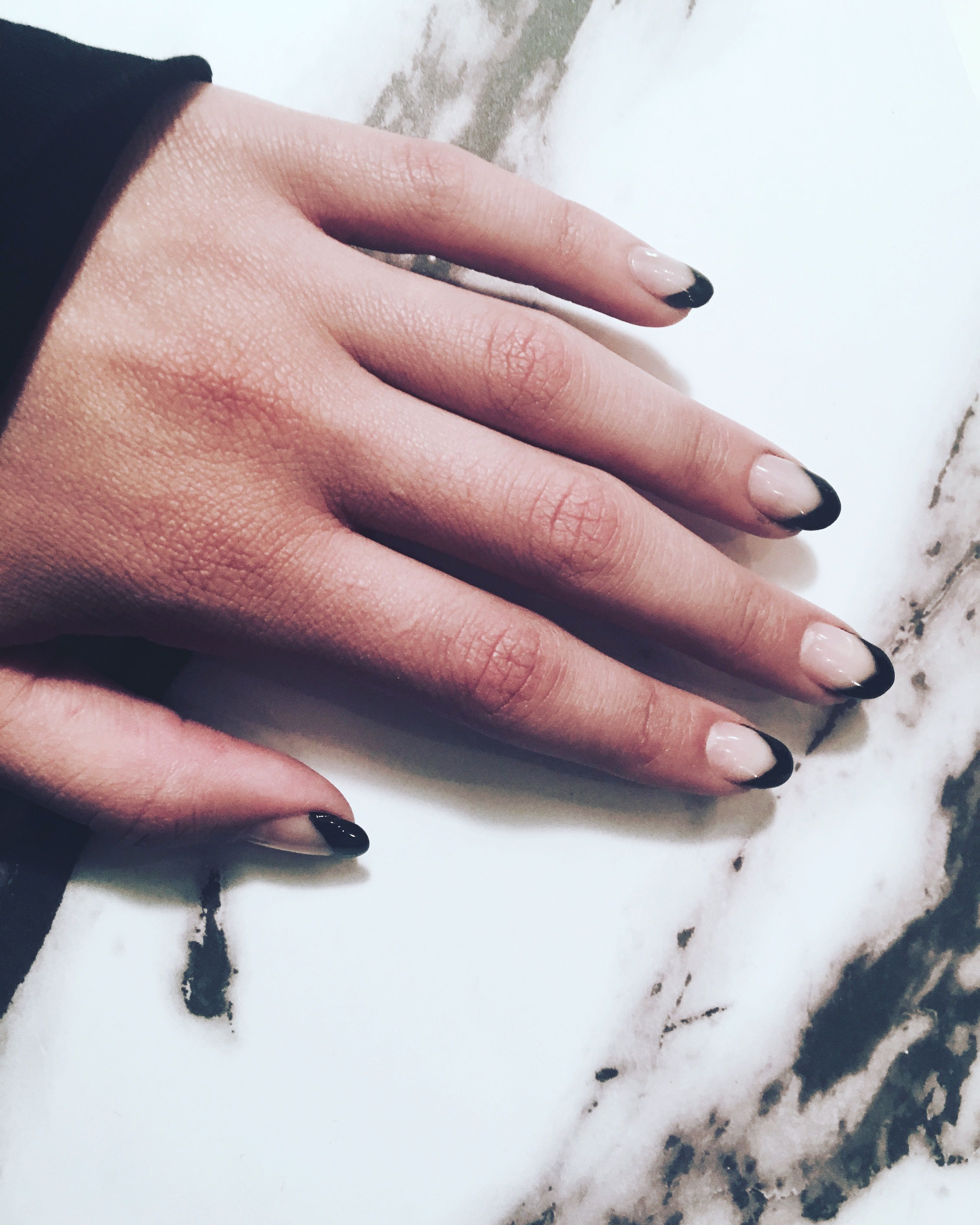 Pretty black and white nails. black French tips arrow nails. Grunge ...
