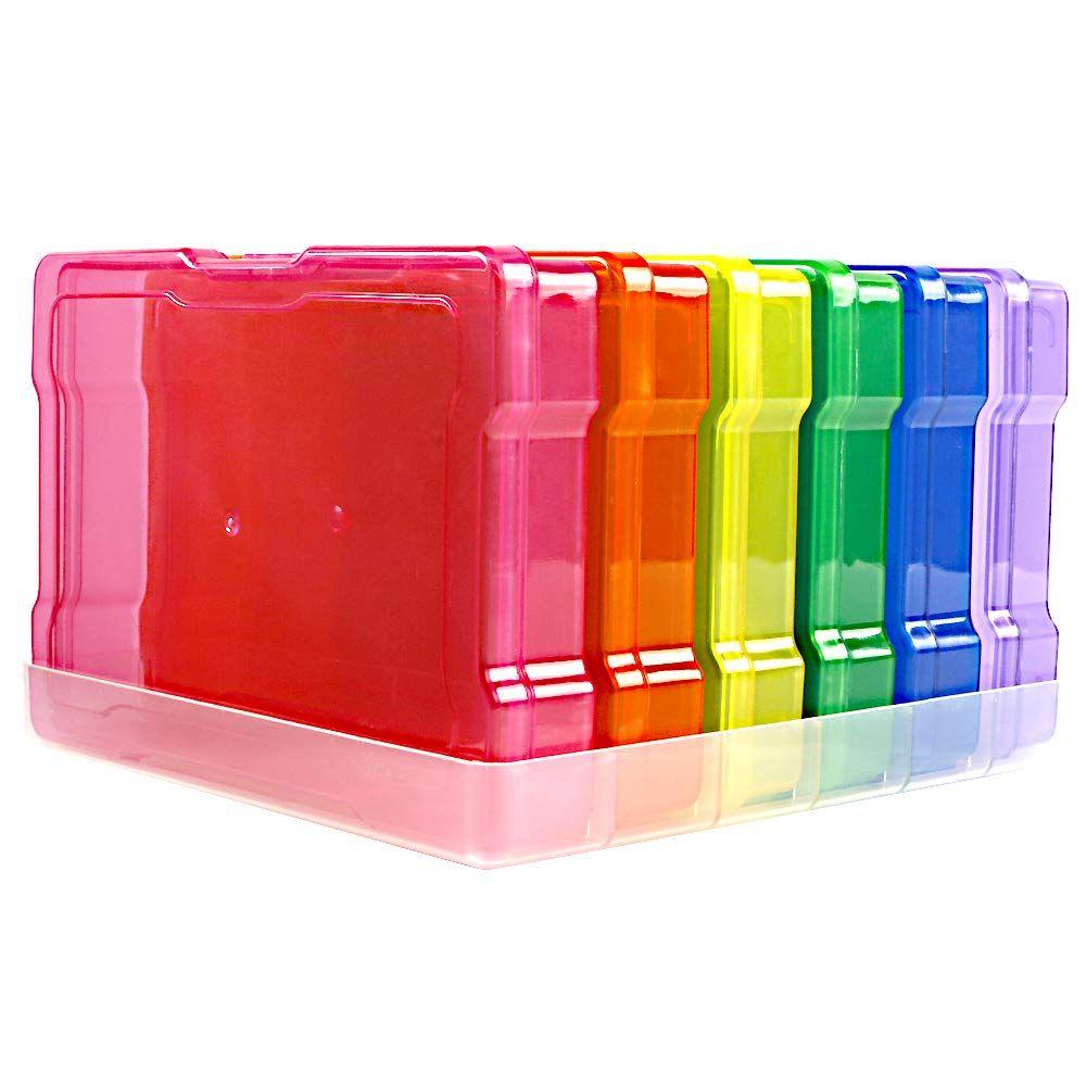 1 Photo Storage Box + 10 Clear Photo Case Novelinks Multi-Colored Photo Case 4 x 6 Photo Box Storage