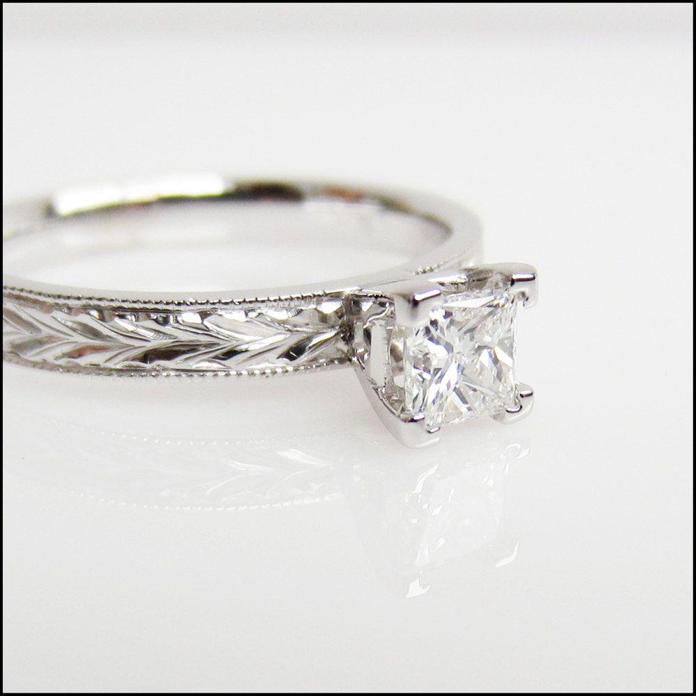 Princess cut Diamond 14k white gold engraved band Engagement ring. $3,875.00, via Etsy.