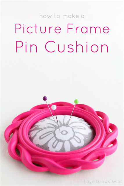 to make a Picture Frame Pin Cushion! A simple project to help keep your pins together while you sew! via