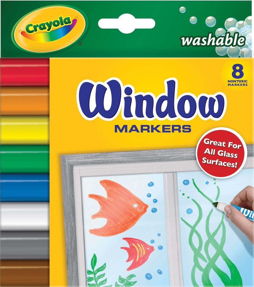 Crayola - 8 rotuladores para ventana con tinta lavable (58-8165 ...