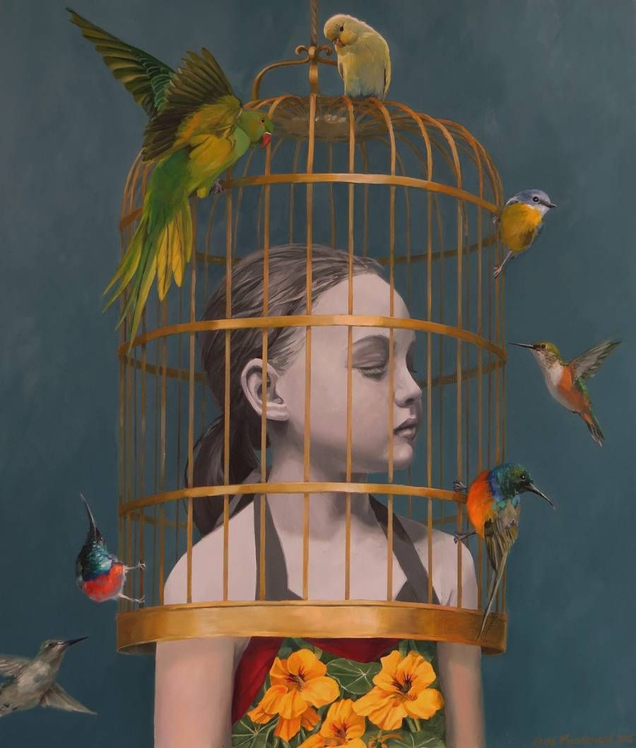 Dreamy Paintings of Girls with Birds  Elise Macdonald is an illustrator based in South Africa who is inspired by what we call the magical realism to produce paintings and narrative elements that invite the viewer to enter in an imaginary world. Each feminine animal (often birds) or child protagonist is painted with realism in a fantastical and very oneiric situation referring to freedom innocence childhood and beauty. According to her and Da Vinci her paintings are never finished but abandon...