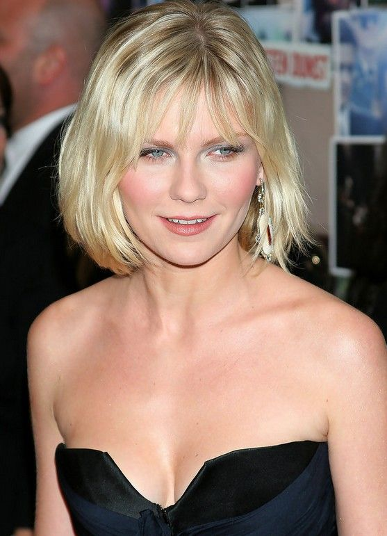 Cute Simple Short Blonde Bob Haircut For Women Kirsten Dunst Hairstyles Round Face Haircuts Round Face Celebrities Haircuts For Round Face Shape