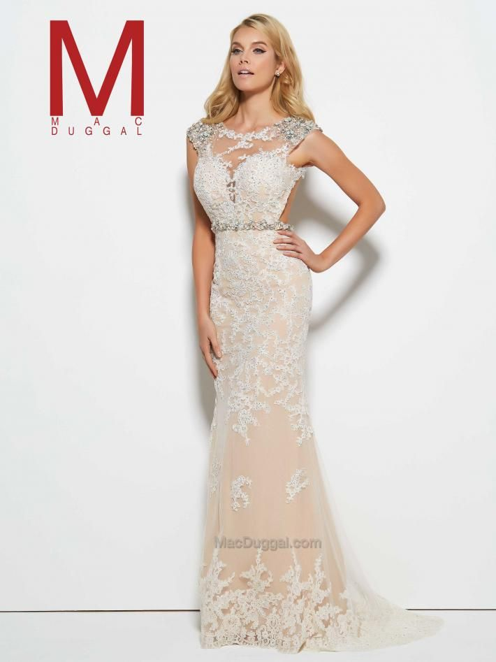 Boat neck, sheer, white, lace, beaded, floor length gown. Lace Prom ...