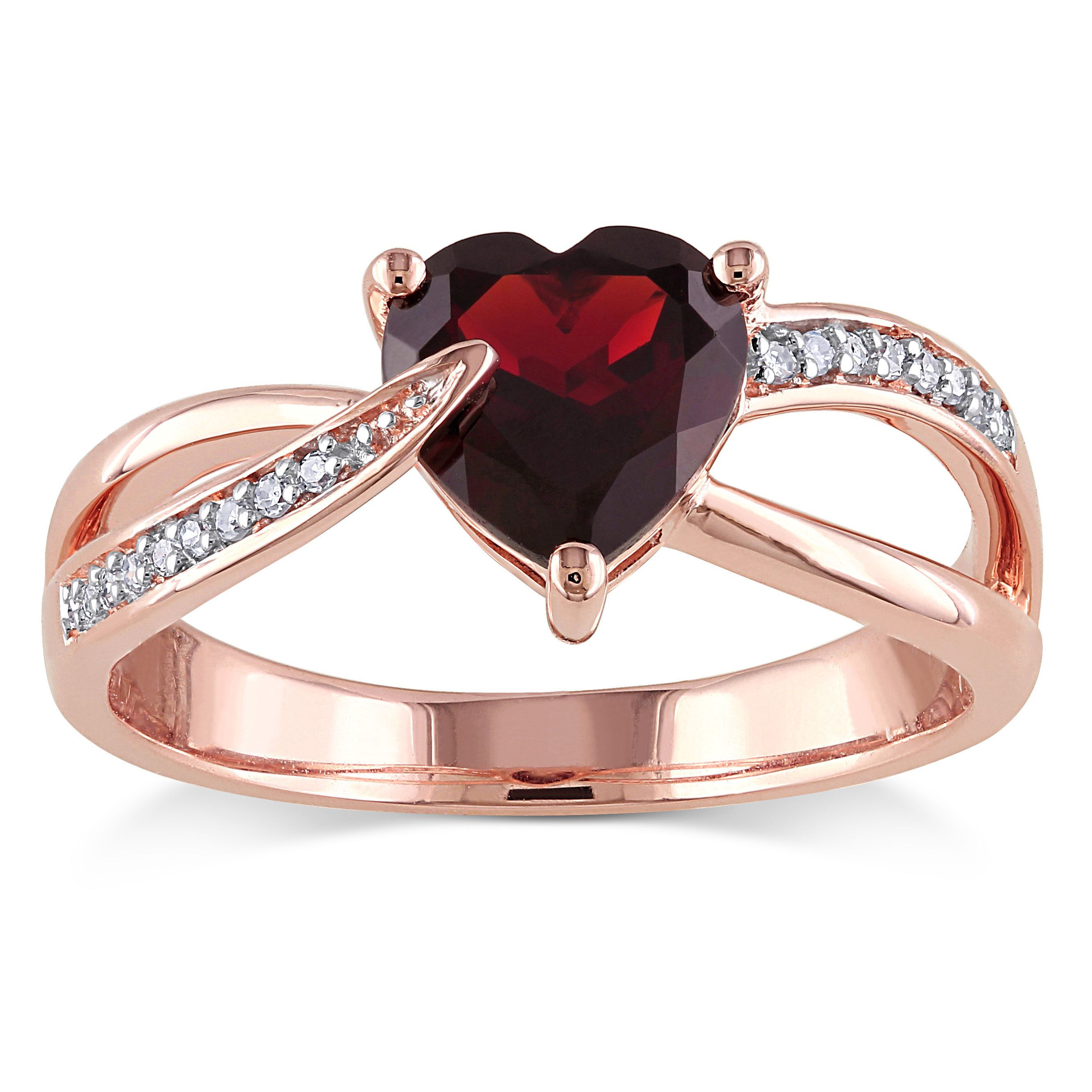 Miadora 10k Rose Gold Garnet and Diamond Accent Heart Ring Size 9