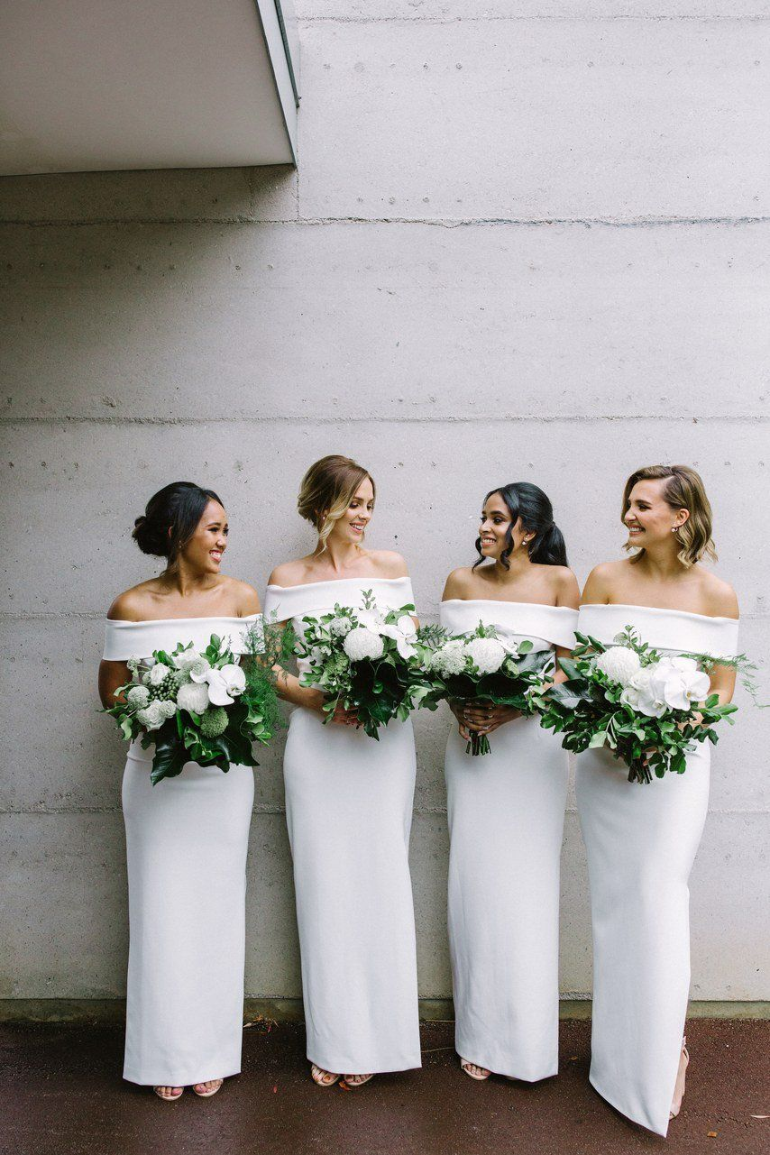 57 Stunning White Bridesmaid Dresses For Every Style Off Shoulder Bridesmaid Dress White Bridesmaid Dresses Long White Bridesmaid Dresses [ 1281 x 854 Pixel ]