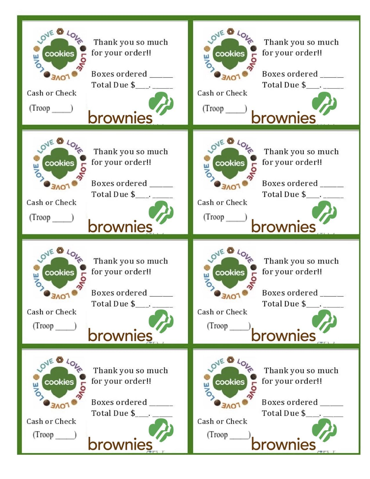 Printable Brownie Girl Scouts Cookie Sales Invoice And Thank You Card 8 Per Sheet Just Downl Girl Scout Activities Girl Scout Cookie Sales Girl Scout Cookies