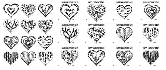 hearts coloring page and valentine u0026 39 s day cards