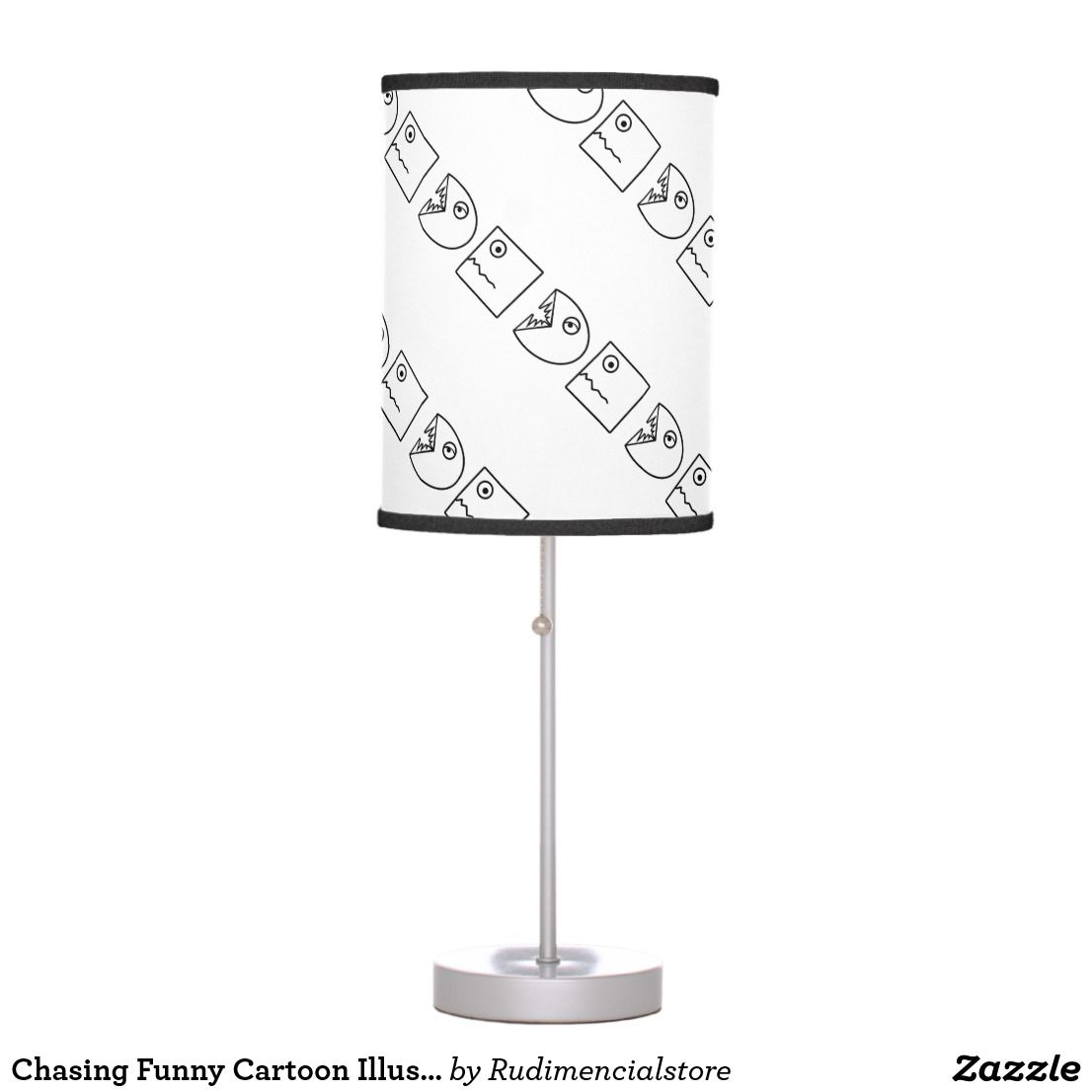 Chasing Funny Cartoon Illustration Table Lamp Zazzle Com Lamp Cartoon Illustration Desk Lamp