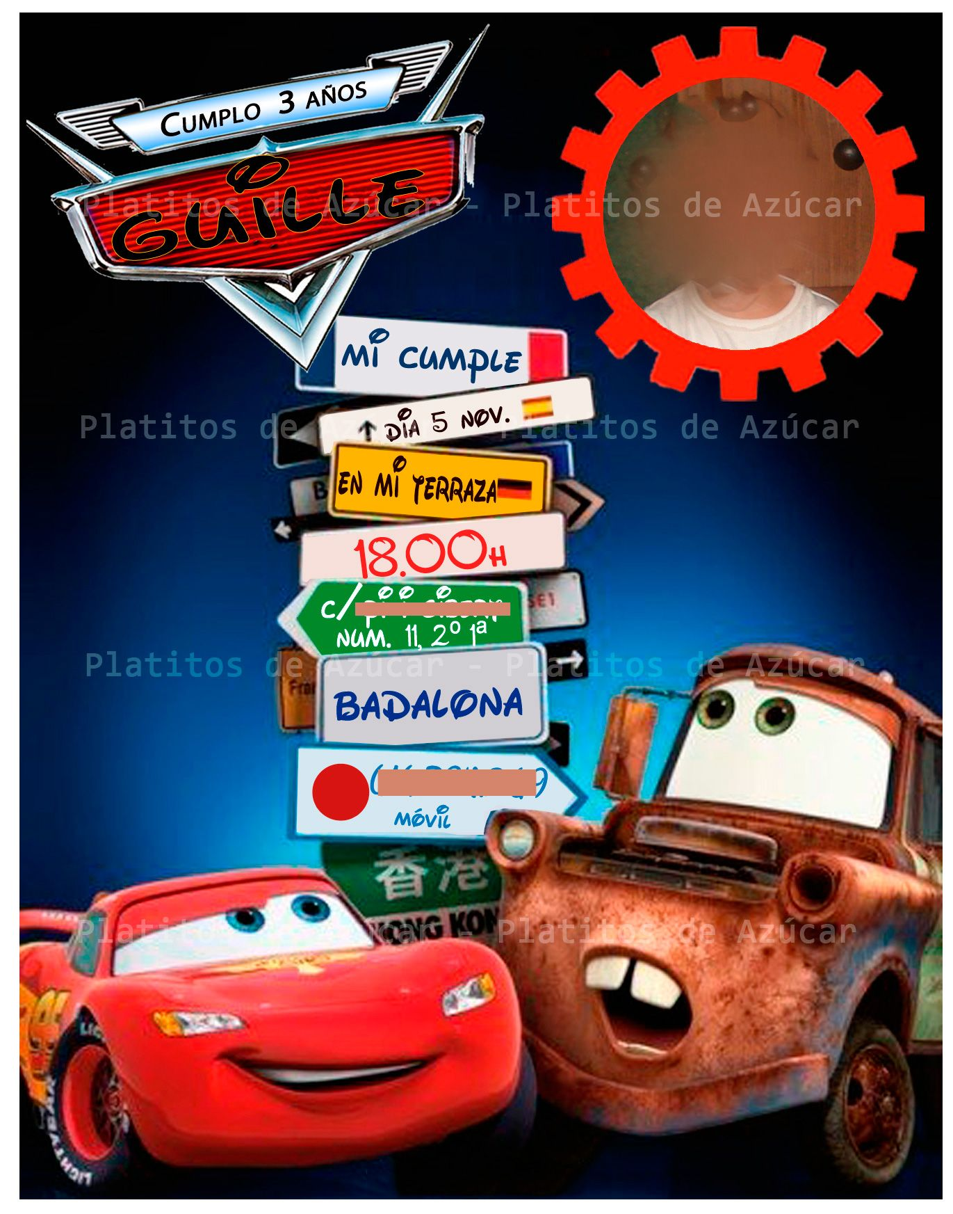 Invitaciones Cumpleaños Cars Para Protector De Pantalla 8 Hd