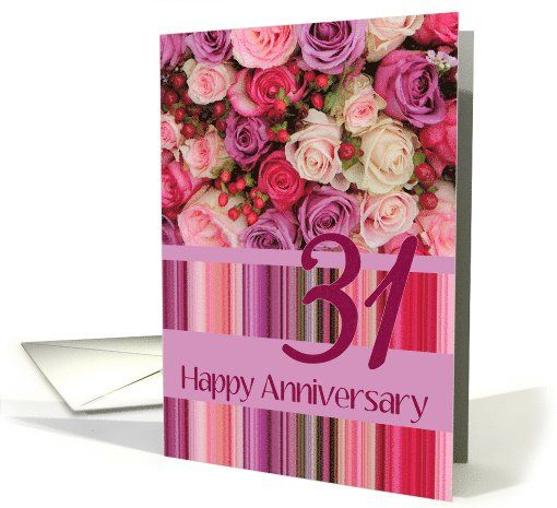 31st Wedding Anniversary Card Pastel Roses And Stripes Card My
