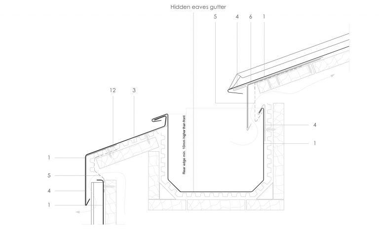 Ventilated Hidden Eaves Box Gutter Detail In Zinc Sig Zinc Copper In 2020 Box Gutter Roof Detail Zinc Roof