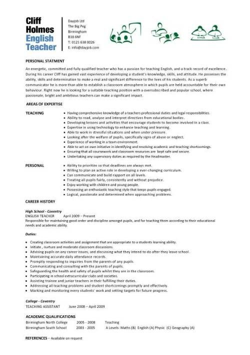 English Cv Sample English Teacher Cv Sample Teaching Resume