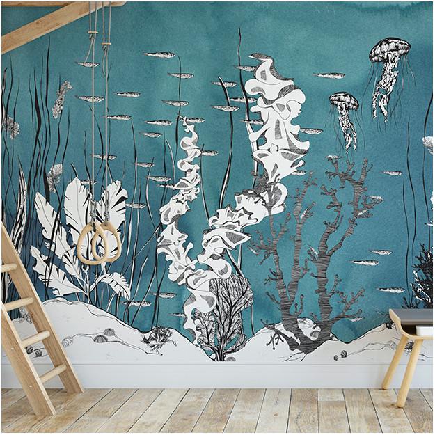 Wall Mural Underwater Midnight By Les Dominotiers Papierpeint Lesdominotiers Decormural Papierpeintpanoramique Panora Mural Wallpaper Mural Wall Murals