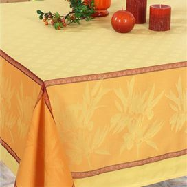 Bring Parisian flair to your dining room decor with this très chic table linen, perfect for highlighting summer centerpieces and gourmet-worthy spreads.   Product: TableclothConstruction Material: 100% PolyesterColor: SoleilFeatures: Jacquard pattern