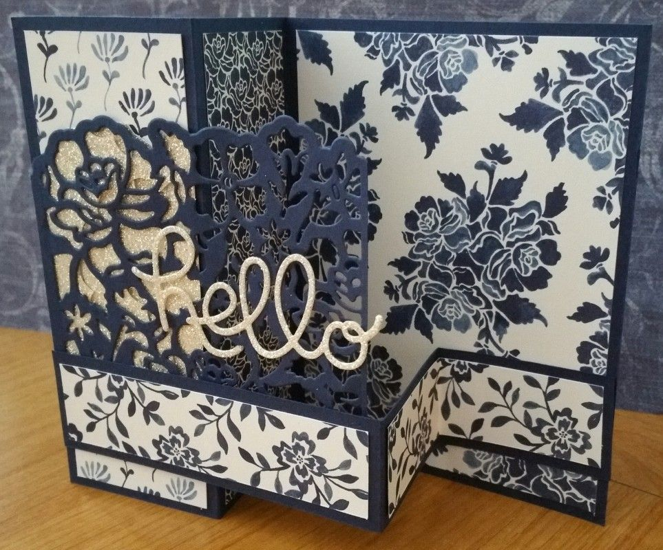 Step card uses Floral Boutique paper (from Stampin' Up!), Night of Navy cardstok, Detailed Floral Thinlits Dies, & Hello You Die