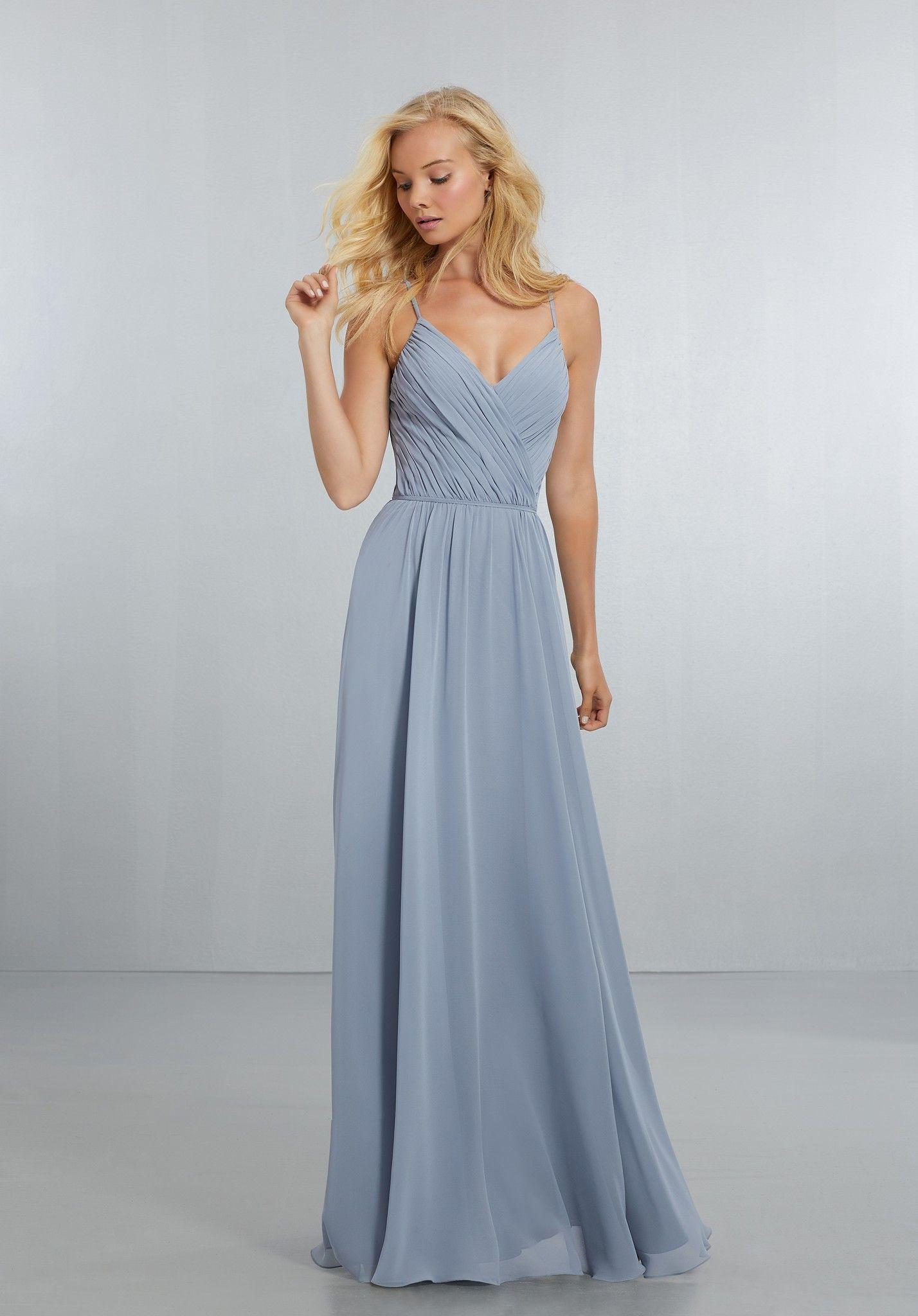 56a5b0d94721f Chiffon Bridesmaids Dress with Draped V-Neck Bodice and Keyhole Back ...