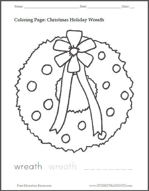 Christmas Wreath Coloring Page Student Handouts Coloring Pages Christmas Coloring Sheets Christmas Reef
