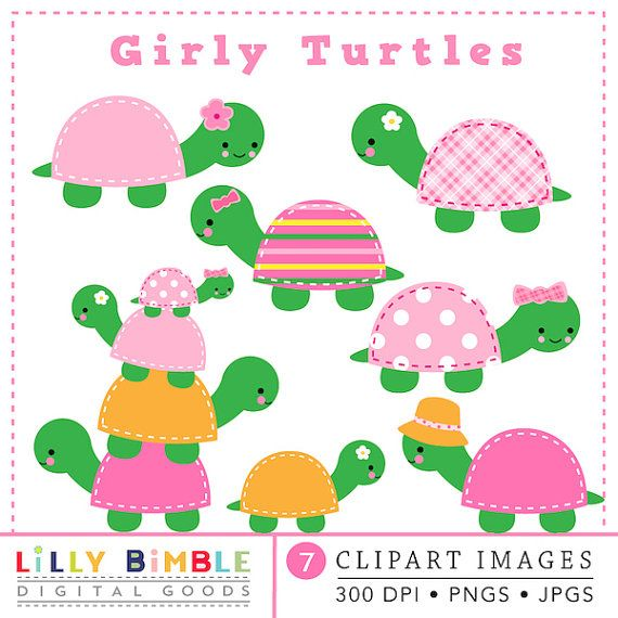 40 Off Girly Girl Turtle Clipart Cute Kawaii Pink Stitched Stacked Flowers Birthday Party Instant Download Clip Art Turtle Turtle Party