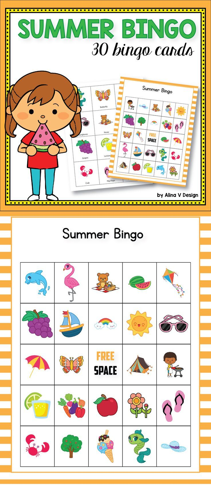 Summer bingo game for kids is the perfect addition to the