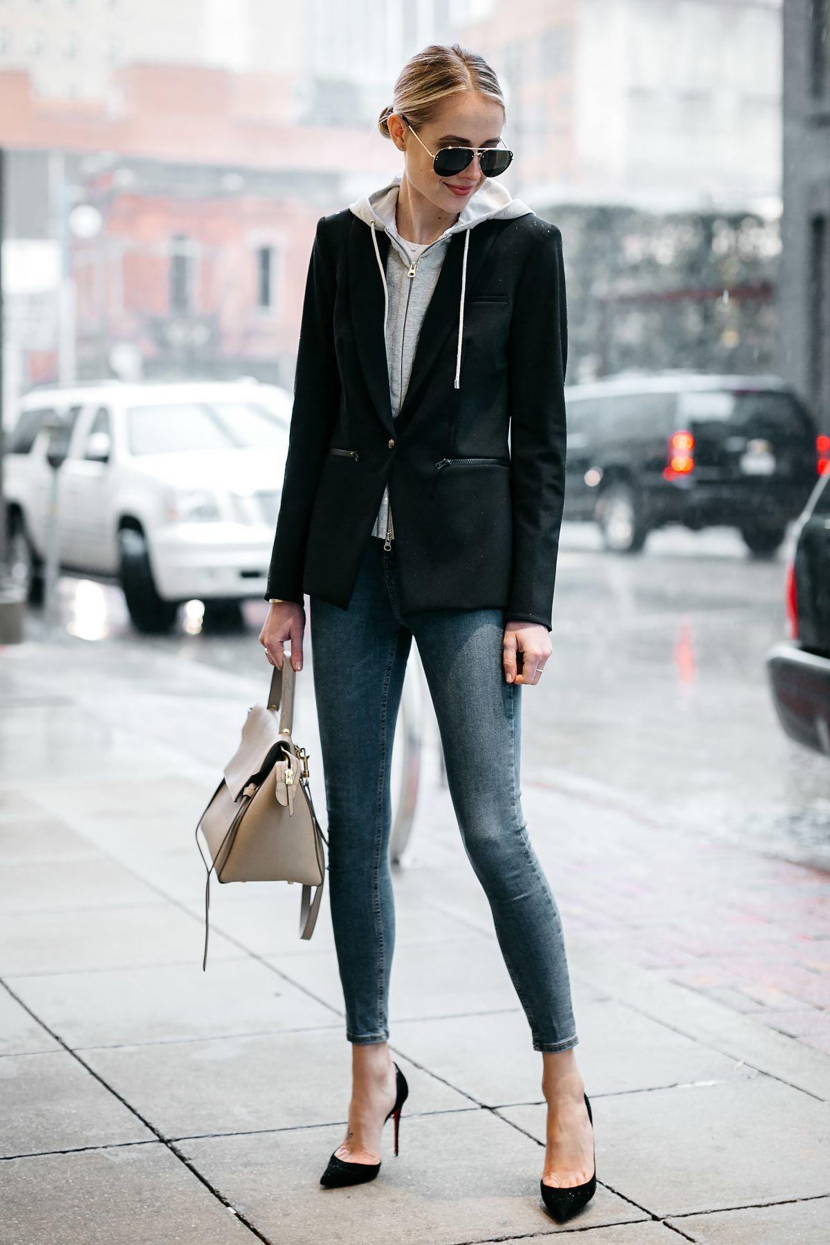 35f54dc3131 Veronica Beard Scuba Jacket Topshop Skinny Jeans Black Christian Louboutin  Pumps Celine Mini Belt Bag Fashion Jackson Dallas Blogger Fashion Blogger  Street ...