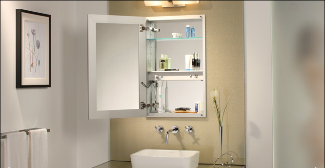 Mirrored medicine cabinets - Mirrored bathroom cabinet with lights ...