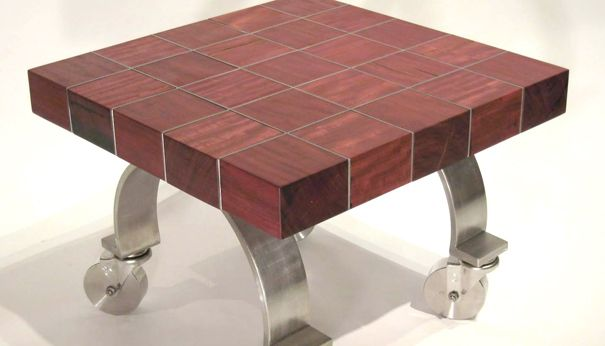 Purple Heart Wood Side Table  Designed by Kimberly Manne of Warp Designs. Purple Heart Wood Side Table  Designed by Kimberly Manne of Warp