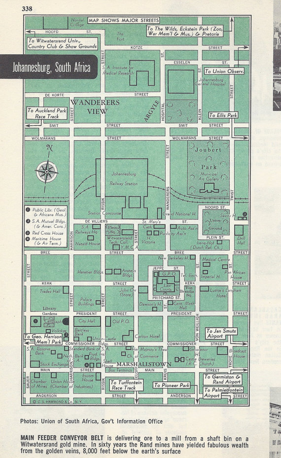 Johannesburg South Africa Map City Map Street Map 1950s Green