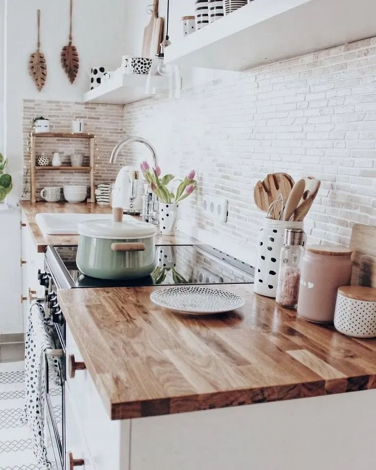 36 Best Kitchen Countertop Ideas For Any Kitchens Kitchendecor Kitchendesign Kitchenideas Home Alone House Interior White Brick Backsplash Home Kitchens