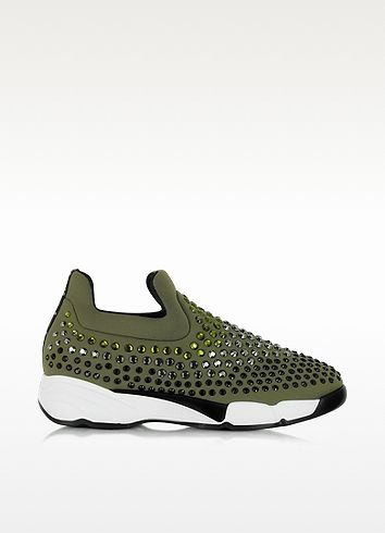 Pinko Gem Turbine Khaki Neoprene w Light Green Strass Sneaker ... b3b4fb29c6d