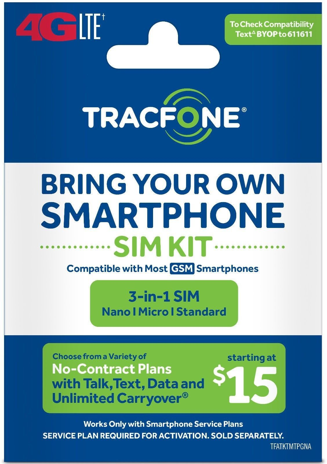 new Tracfone Bring Your Own Phone SIM Kit AT&T GSM
