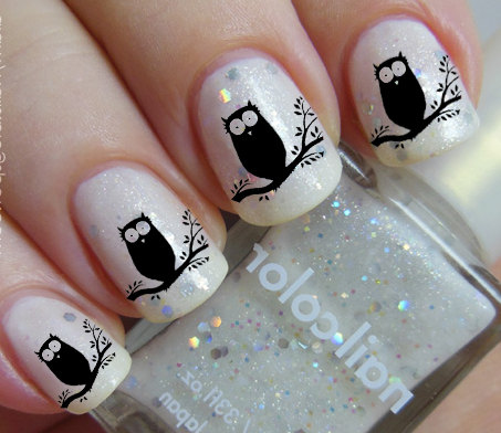36 Nail Decals Black OWLS on a Tree Familiar by NorthofSalem, $4.99 Owl  Nail Art - Black OWL Nail Art (OWT) Owls In A Tree Familiar Symbols Black Nail