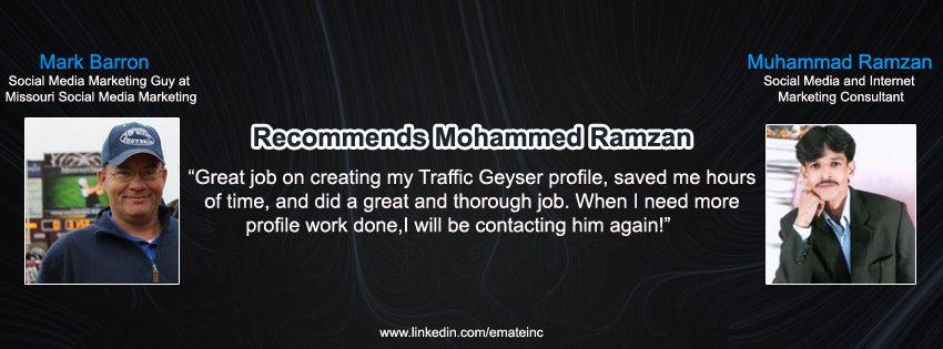 Mark Barron Social Media Marketing Guy at Missouri Social Media Marketing Muhammad Ramzan Social Media & Internet Marketing Consultant.