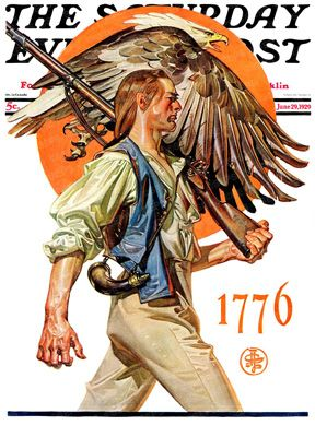 Revolutionary war soldier carries musket, eagle overhead