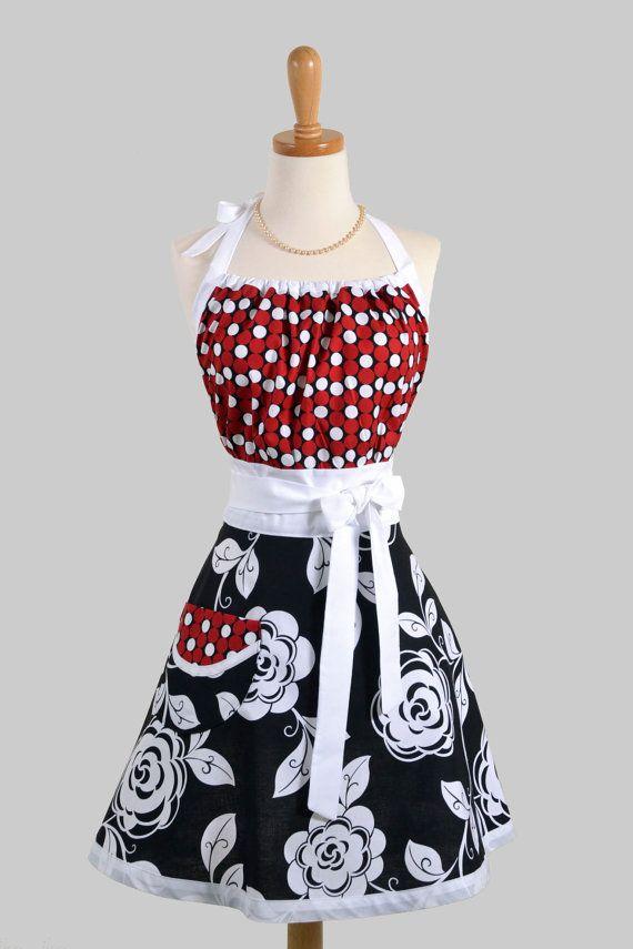 Cute Kitsch Apron : Modern Design in Retro Bold Black and White Rose ...