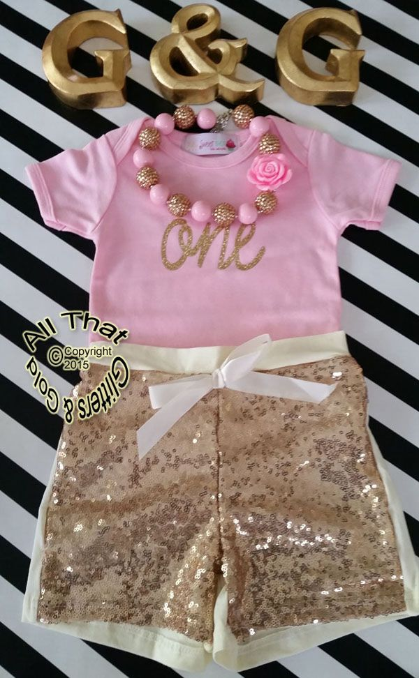 212885ae Pink and Gold One 1st Birthday Outfit With Gold Sequin Shorts | Cute ...