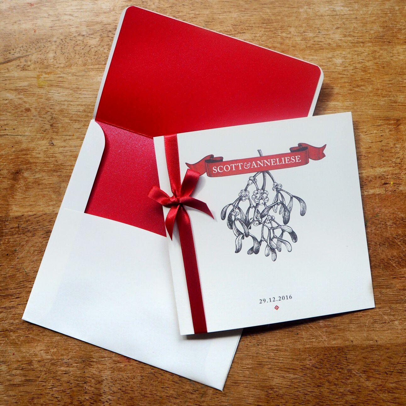 Vintage mistletoe etching on a 150mm folded wedding invitation with ...
