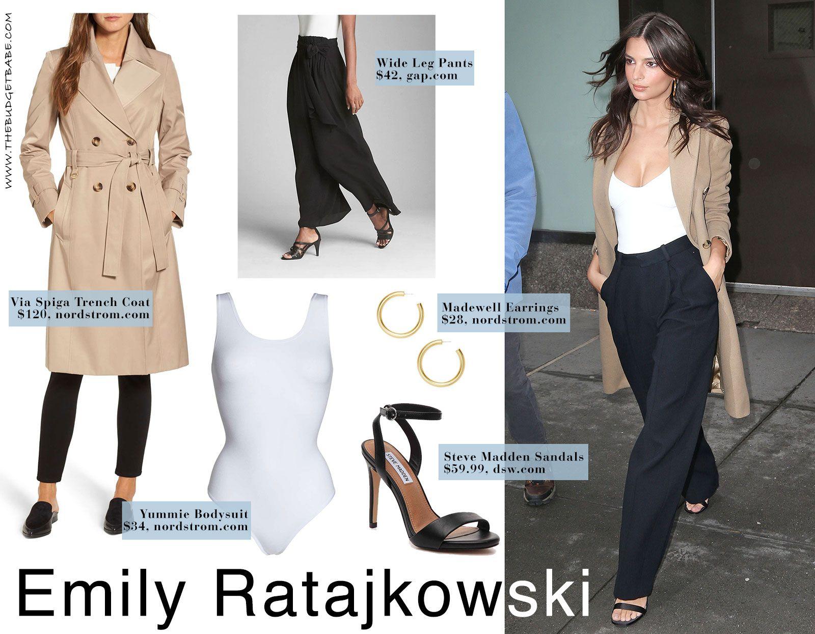 57632a753681c Emily Ratajkowski s White Bodysuit and High-Waisted Pants - The Budget Babe