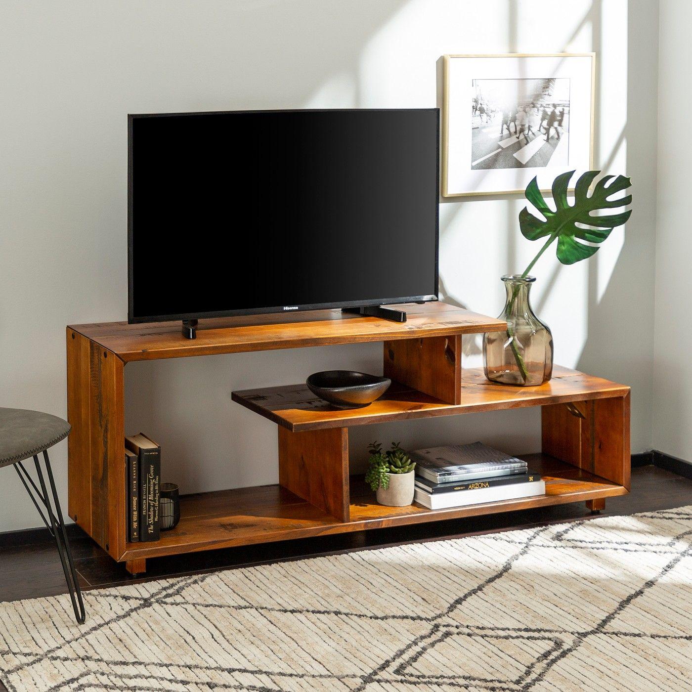 Rustic Modern Solid Wood Tv Stand For Tvs Up To 50 Saracina Home Móveis Feito De Pallet Mobiliário Com Paletes De Madeira Idéias De Decoração Para Casa