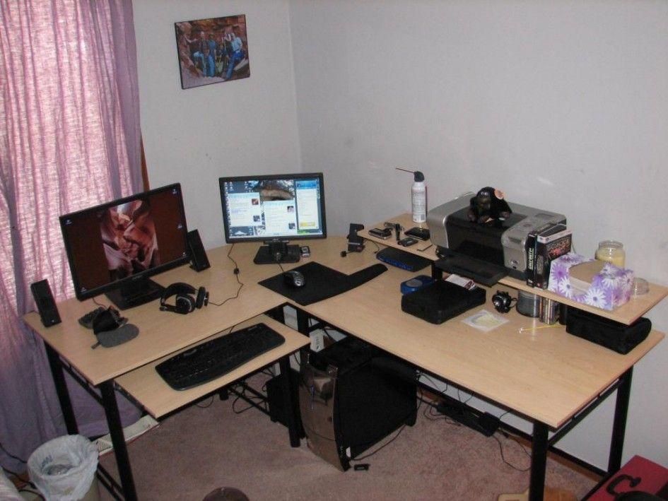 Desk Magnificent Ergonomic Gaming Desk Light Oak Laminate Top L Shape Pull Out Keyboard Tray Black Metal Frame 2 M Computer Desk Design Gaming Desk Desk Design