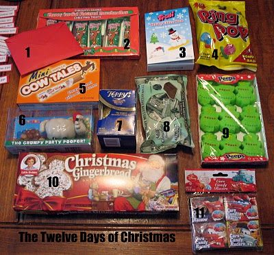 12 days of christmas: a story for each day with coordinating treat. Wouldn't this be neat to do as a secret santa?